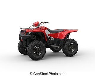 Red four- wheeler - on white background