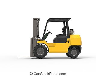 Yellow forklift - side view