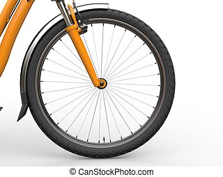 Front wheel of a bicycle - yellow paint