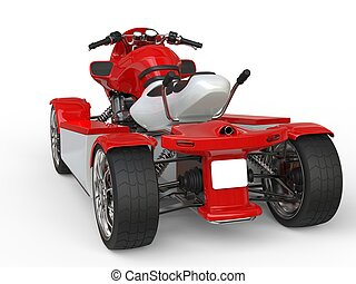 Red and white quad bike - back view