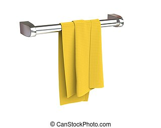 Small yellow piece of dish cloth on a cloth rack