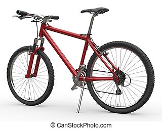 Red mountain bike - standing on sidestand