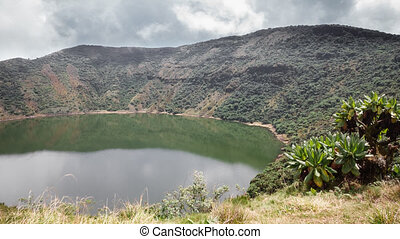 Bisoke volcano time lapse in Rwanda - Top of Bisoke volcano...
