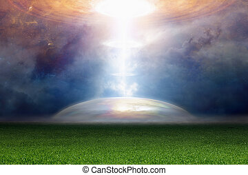 Abstract fantastic background - spotlight from ufo -...