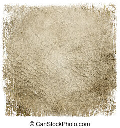 Grunge leather framed texture background Isolated on white...