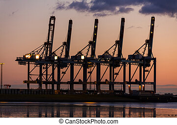 Sunset or Sunrise Behind Cranes at Container Port - Sunset...