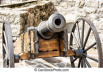 Close up photo of historic cannon. Retro object. Military...