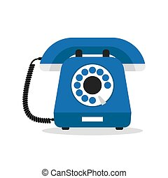 Retro styled blue telephone. Flat design vector illustration...