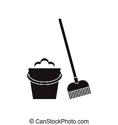 Bucket and mop on white background. Cleaning tools icon....