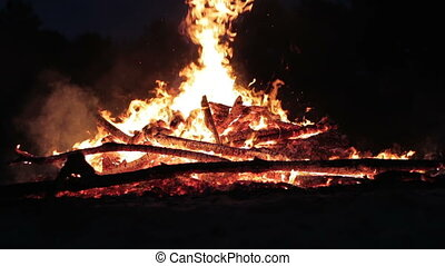 Campfire in the Night - Big Campfire from Branches Burn at...