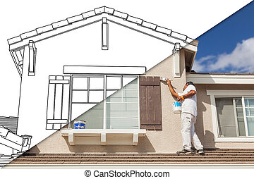 Diagonal Split Screen of Drawing and Photo of House Painter...