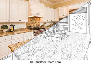 Diagonal Split Screen Of Drawing and Photo of New Kitchen -...