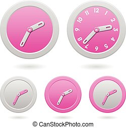 Modern Pink Clocks Isolated on White