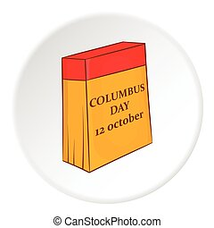 Columbus day calendar icon, cartoon style