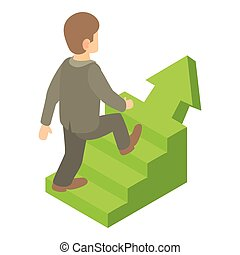 Businessman running up career ladder icon