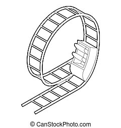 Rollercoaster icon in outline style - icon in outline style...