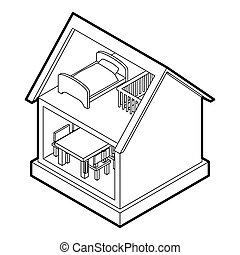 Toy house icon, outline style - icon in outline style on a...