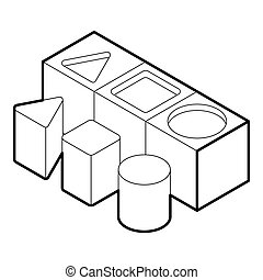 Shape sorter toy icon, outline style - icon in outline style...