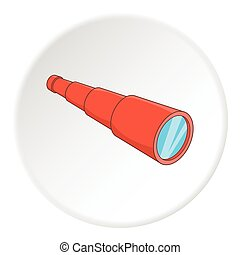 Antique telescope icon, cartoon style - Antique telescope...