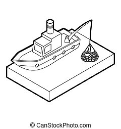 Fishing boat icon, outline style - Fishing boat icon Outline...