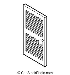 Door with horizontal vent icon, outline style - Door with...
