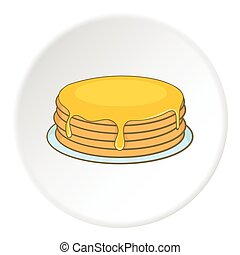 A stack of pancakes with honey icon, cartoon style