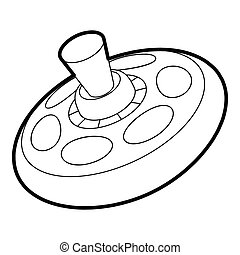 Toy spinning top icon, outline style