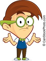 Confused nerd geek - Clipart picture of a confused nerd geek...