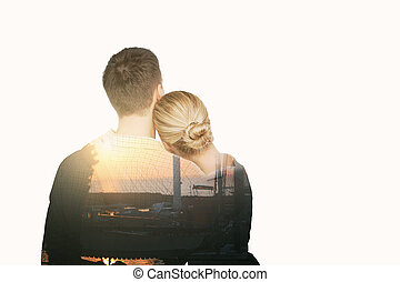 Young couple thinking about holidays on white background
