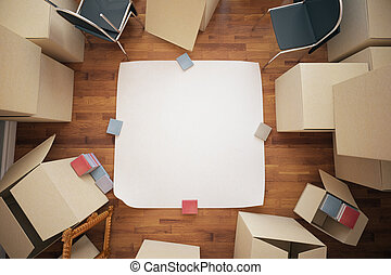 Renovation ideas concept - Stacks of cardboard boxes and...