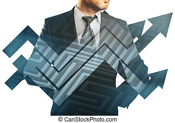 Business challenge concept - Businessman in suit and...