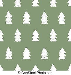Christmas trees seamless pattern. Hand painted pastel...