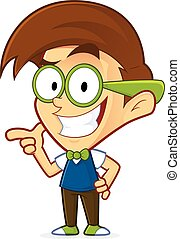 Nerd geek with gun finger gesture - Clipart picture of a...