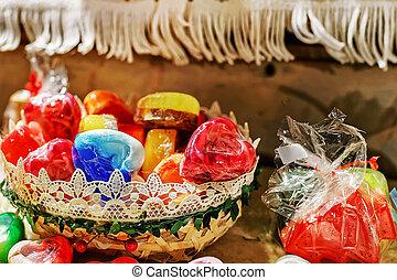 Handmade soap in heart shape at Riga Christmas market