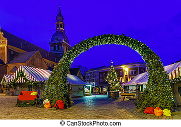 Entrance to Riga Christmas market at Dome square - Entrance...
