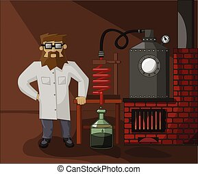 bearded chemist in the laboratory background