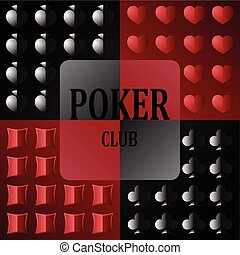 Logo for the poker club with the image of card suits and...