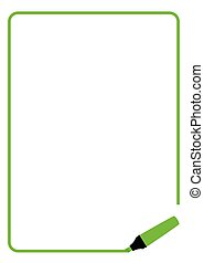 Green Highlighter Page Border - Page border created by a...