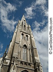 Church tower, blue sky - First Church of Otago in Dunedin,...