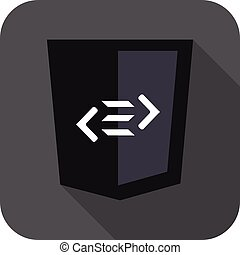 vector web development shield sign html5 tag symbol icon on...