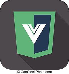vector web development shield sign html5 javascript V letter...