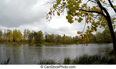 cloudy autumn day over the lake. Russia.