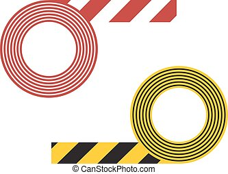 Striped tape vector illustration - Caution striped tape and...