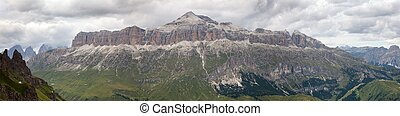 View of Sellagruppe or Gruppo di Sella, South Tirol,...
