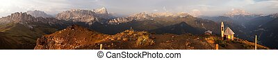 Evening panoramic view from dolomites mountains - Evening...