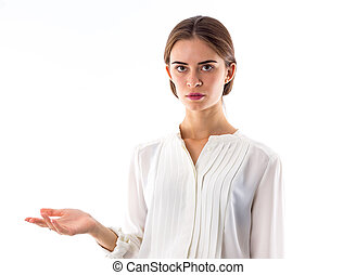 Woman showing perplexity - Young beautiful woman in white...