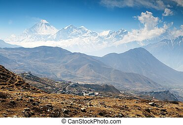 View of mount Dhaulagiri and Muktinath village, round...