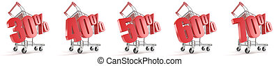 30%, 40%, 50%, 60%, 70% percent discount in front of shopping cart. Sale concept. 3D