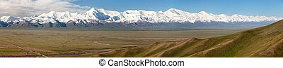 Panoramic view of Pamir mountain and Pik Lenin - Kyrgyzstan