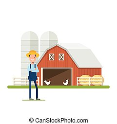 Flat Happy Farmer standing next to a farm. Barn with chickens and hay. A man in a straw hat against the backdrop of agricultural buildings. Storage of grain. An employee in the garden or plantation.